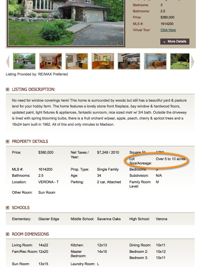 lot size/acreage displayed in property details