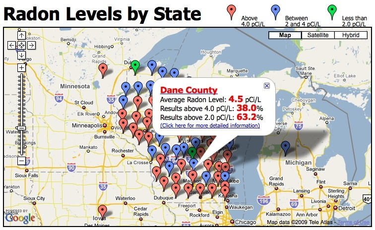 radon readings in Dane County