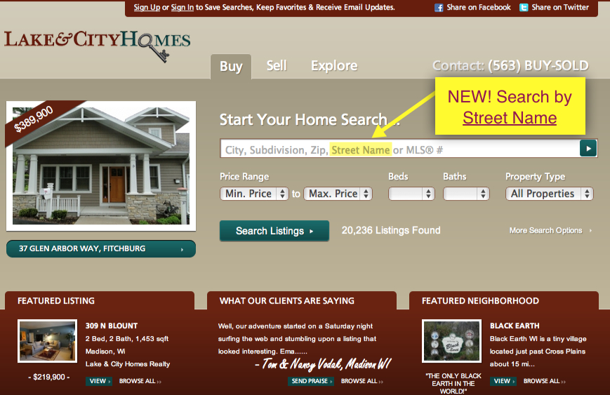 lakeandcityhomes.com home page quick search tool